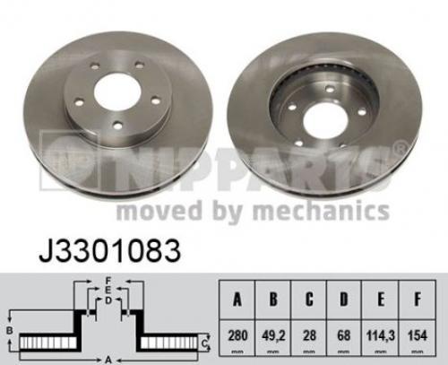 2x Nipparts Bremsscheibe J3301083 für NISSAN